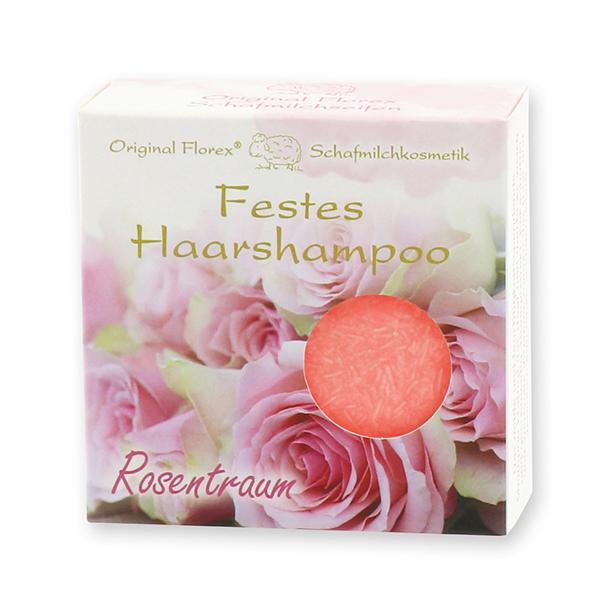 Festes Haarshampoo mit Schafmilch 58g in Papier-Schachtel, Rosentraum
