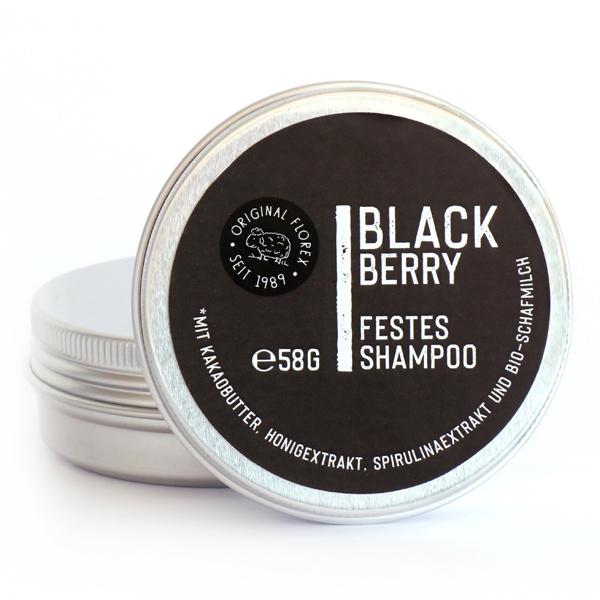 "Festes Haarshampoo 58g Black Berry in Dose ""Black Edition"", Schwarz"