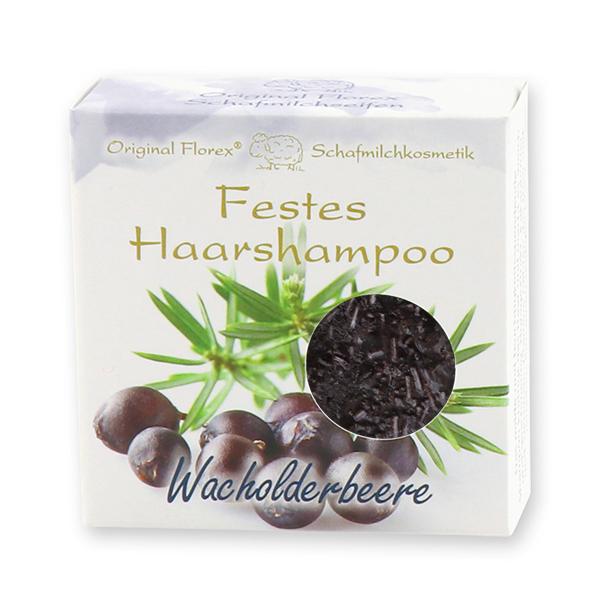 Festes Haarshampoo mit Schafmilch 58g in Papier-Schachtel, Wacholderbeere