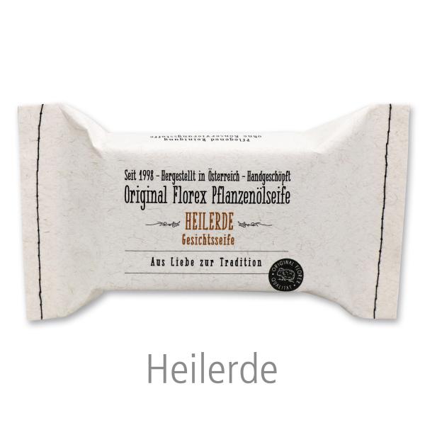 Kaltgerührte Spezialseife 100g im genähten Papierbeutel, Heilerde