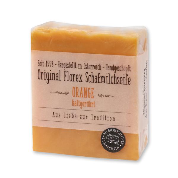 Kaltgerührte Schafmilchseife 150g mit transparenter Schleife in Cello, Orange