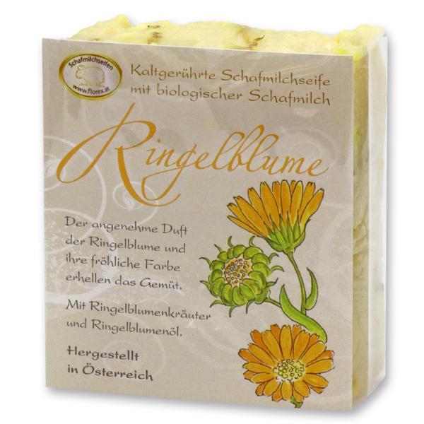 Kaltgerührte Schafmilchseife 150g klassisch verpackt, Ringelblume