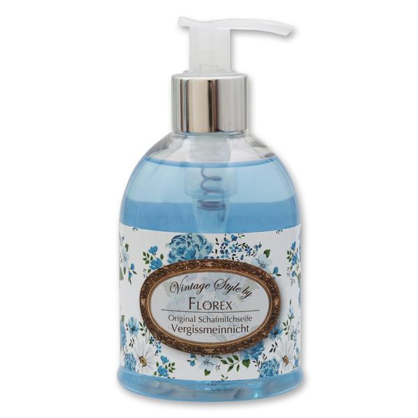 "Liquid sheep milk soap 250ml in a dispenser ""Vintage-Motive 114"", Forget Me Not"