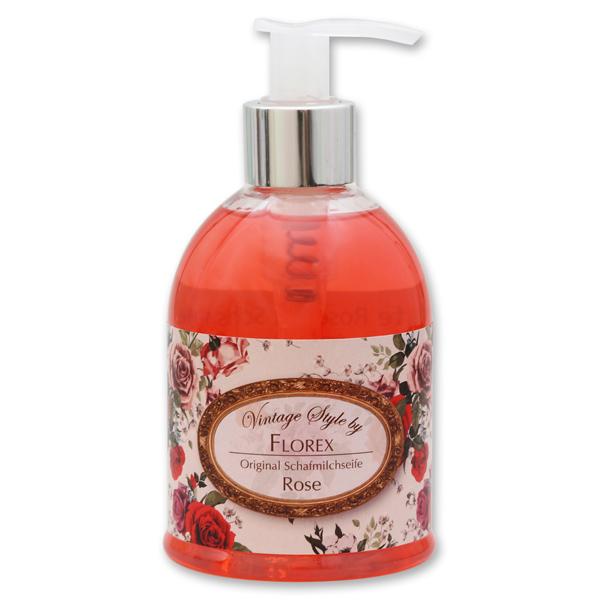 "Liquid sheep milk soap 250ml in a dispenser ""Vintage-Motive 139"", Rose"