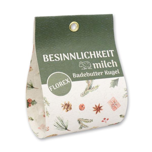 """Badebutter-Kugel mit Schafmilch 50g in Tasche """"Besinnlichkeit"""", Eisenkraut"""