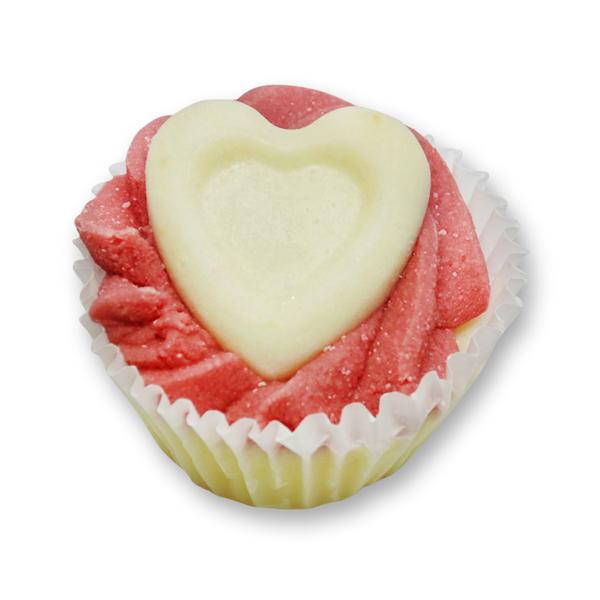 Badebutter-Cupcake mit Schafmilch 45g, Herz/Cranberry