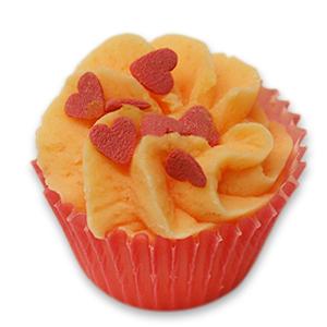 Badebutter-Cupcake mit Schafmilch 45g, Rote Herzen/Rose