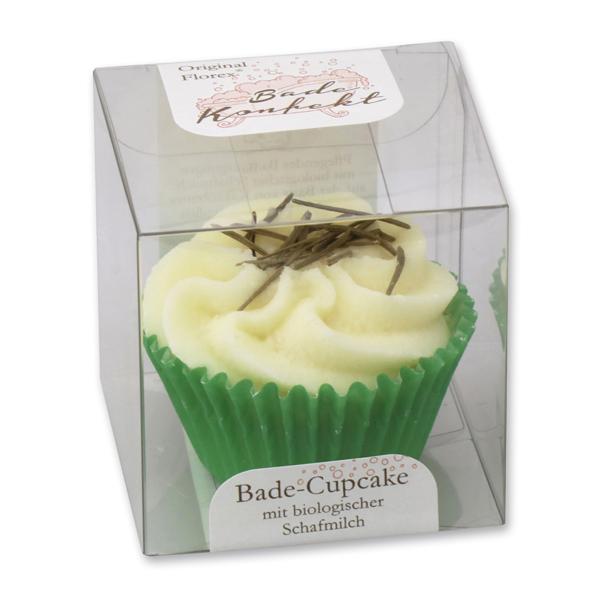 Badebutter-Cupcake mit Schafmilch 45g in Cellobox, Fichtennadeln/Zirbe