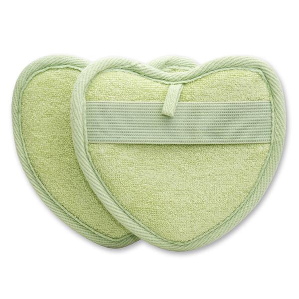 Waschlappen- Herz, grün