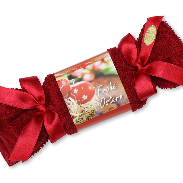 """Sheep milk soap 100g in a washcloth """"Frohe Ostern"""", Hibiscus"""