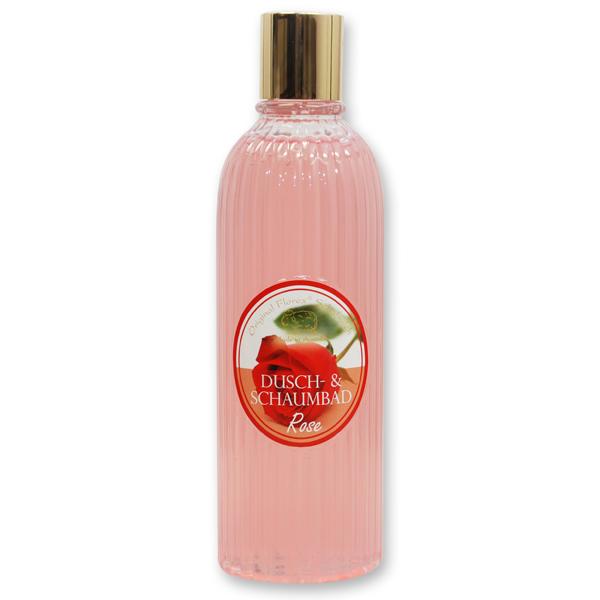 Dusch- & Schaumbad mit biologischer Schafmilch 330ml in der Flasche, Rose rot