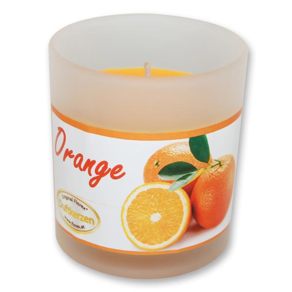 Duftkerze im Glas mit Schleife, Orange