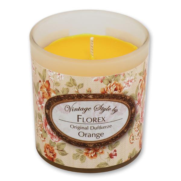 """Duftkerze im Glas """"Vintage-Motiv 20"""", Orange"""