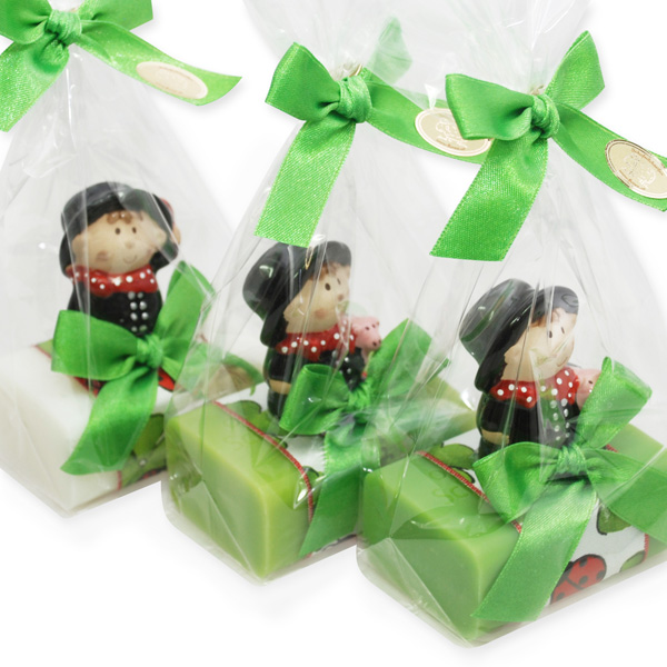 Sheep milk soap 100g decoarted with a chimney sweep in cellophane, Classic/green apple/pear
