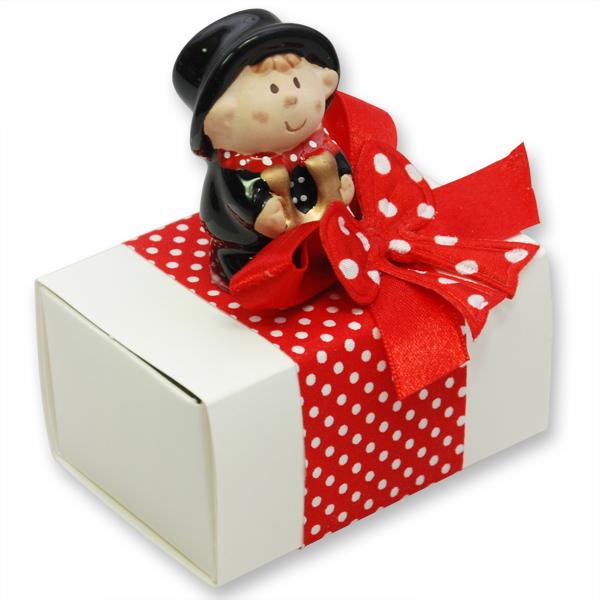 Schafmilchseife eckig 100g verpackt in Schachtel dekoriert mit Rauchfangkehrer, Classic/Granatapfel