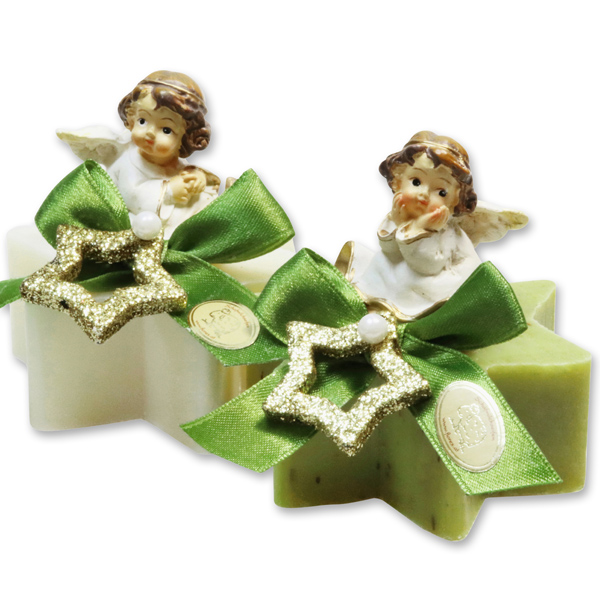 Sheep milk soap star 80g decorated with an angel, Classic/Verbena